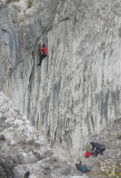 Rock climbing at Malham Cove, in the Yorkshire Dales