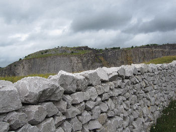 New drystone wall above Giggleswick Quarry