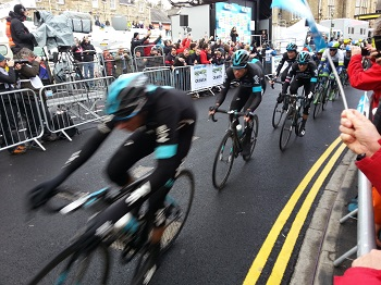 Tour de Yorkshire Stage One finishing post in Settle