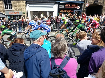 the Tour de France peloton passing through Ilkley