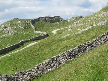 Drystone wall on moors above Langcliffe in the Yorkshire Dales